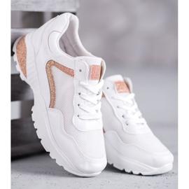 SHELOVET Sportowe Buty Z Brokatem białe 1