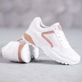 SHELOVET Sportowe Buty Z Brokatem białe 4