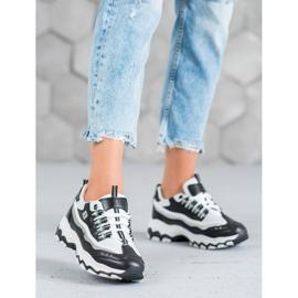 Yes Mile Sneakersy Z Brokatem białe czarne 2