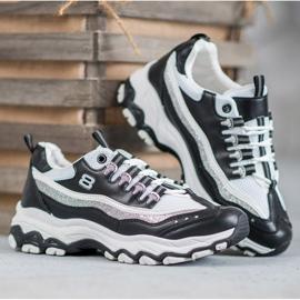 Yes Mile Sneakersy Z Brokatem białe czarne 4