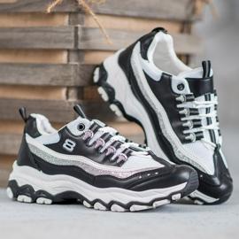 Yes Mile Sneakersy Z Brokatem białe czarne 5