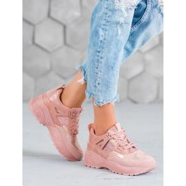 SHELOVET Różowe Sneakersy Moro 1