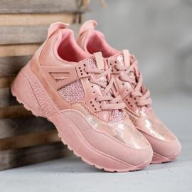 SHELOVET Różowe Sneakersy Moro 4