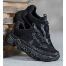 SHELOVET Czarne Sneakersy Damskie 2