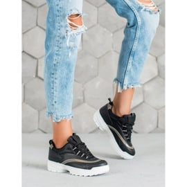 SHELOVET Modne Czarne Sneakersy 3