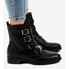 Czarne botki damskie z klamrami S120 4