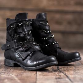 GISICODE Rockowe Buty Z Perełkami czarne 1