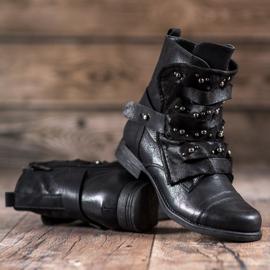 GISICODE Rockowe Buty Z Perełkami czarne 2