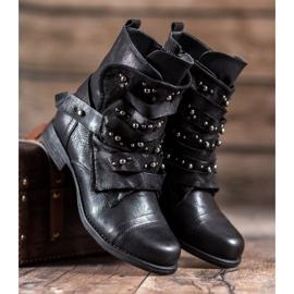 GISICODE Rockowe Buty Z Perełkami czarne 3