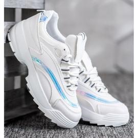 SHELOVET Modne Białe Sneakersy 3