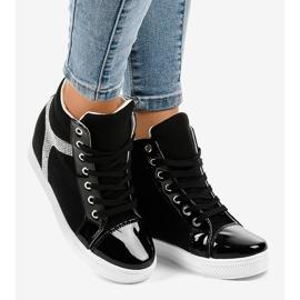 Czarne sneakersy na koturnie z cekinami AN2959 2
