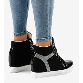 Czarne sneakersy na koturnie z cekinami AN2959 3