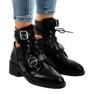 Czarne botki damskie na masywnej podeszwie T195 zdjęcie 1