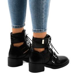 Czarne botki damskie na masywnej podeszwie T195 3