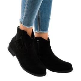 Czarne botki damskie płaskie z frędzlami YS476 1