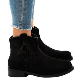 Czarne botki damskie płaskie z frędzlami YS476 2