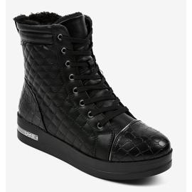 Czarne sneakersy ocieplane z suwakiem 9015-1 1