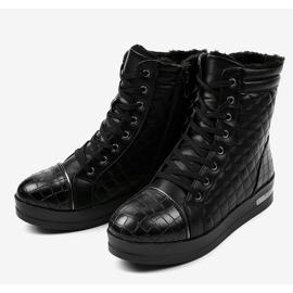 Czarne sneakersy ocieplane z suwakiem 9015-1 2