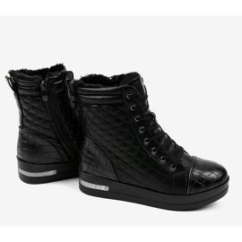 Czarne sneakersy ocieplane z suwakiem 9015-1 3