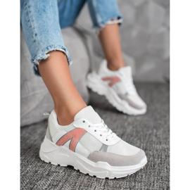 SHELOVET Sportowe Sneakersy białe różowe wielokolorowe 4