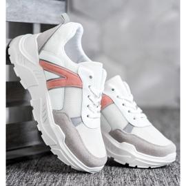 SHELOVET Sportowe Sneakersy białe różowe wielokolorowe 2