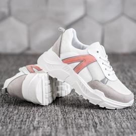 SHELOVET Sportowe Sneakersy białe różowe wielokolorowe 3