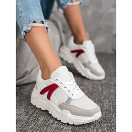 SHELOVET Sportowe Sneakersy białe czerwone wielokolorowe 1
