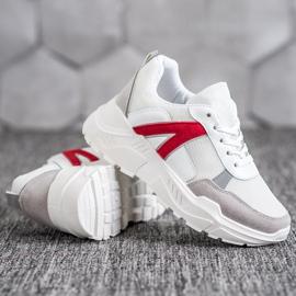 SHELOVET Sportowe Sneakersy białe czerwone wielokolorowe 3