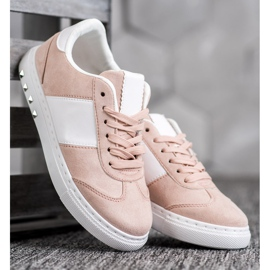 Emaks Sneakersy Z Dżetami białe różowe 2
