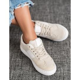 Emaks Sneakersy Z Dżetami białe brązowe 2