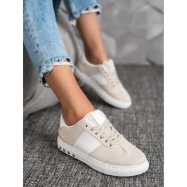 Emaks Sneakersy Z Dżetami białe brązowe 1