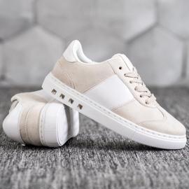 Emaks Sneakersy Z Dżetami białe brązowe 3
