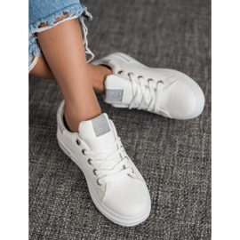 SHELOVET Sneakersy Z Eko Skóry białe 1