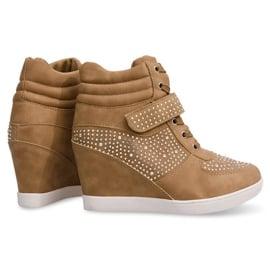 Sneakersy Trampki Na Koturnie Botki 3188 Khaki 1