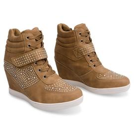 Sneakersy Trampki Na Koturnie Botki 3188 Khaki 2