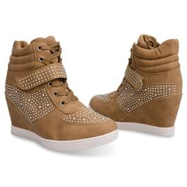 Sneakersy Trampki Na Koturnie Botki 3188 Khaki 3