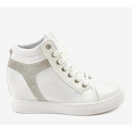 Białe buty sneakersy na koturnie z cekinami AN2959 2