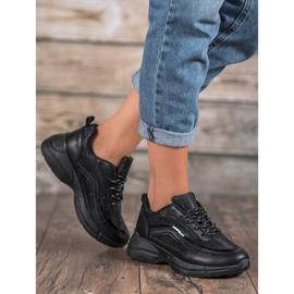 SHELOVET Błyszczące Buty Sportowe czarne 1