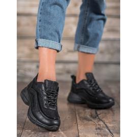 SHELOVET Błyszczące Buty Sportowe czarne 2