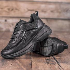 SHELOVET Błyszczące Buty Sportowe czarne 3