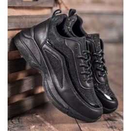 SHELOVET Błyszczące Buty Sportowe czarne 4