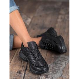 SHELOVET Błyszczące Buty Sportowe czarne 5