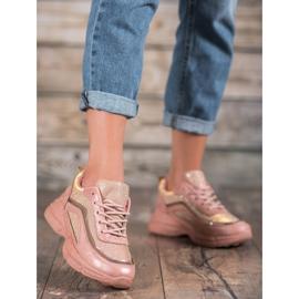 SHELOVET Błyszczące Buty Sportowe różowe 2