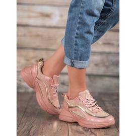 SHELOVET Błyszczące Buty Sportowe różowe 1