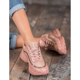 SHELOVET Błyszczące Buty Sportowe różowe 3