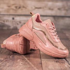 SHELOVET Błyszczące Buty Sportowe różowe 4