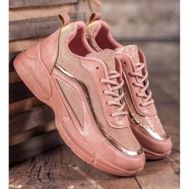 SHELOVET Błyszczące Buty Sportowe różowe 5