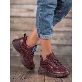 SHELOVET Błyszczące Buty Sportowe czerwone 5