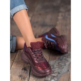 SHELOVET Błyszczące Buty Sportowe czerwone 2