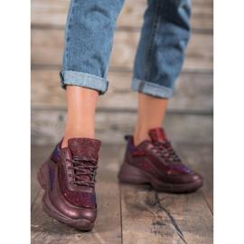 SHELOVET Błyszczące Buty Sportowe czerwone 1